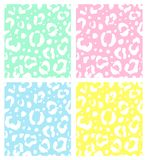Vector set collection of seamless pastel leopard fur print pattern on white background. Vector set collection of seamless pastel leopard fur print pattern vector illustration
