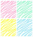 Vector set collection of seamless pastel zebra fur print pattern. Isolated on white background royalty free illustration