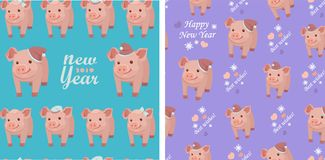 Vector set collection. Seamless patterns with pigs on blue and purple backgrounds. Vector set collection. Seamless patterns with pigs, snowflakes and hearts on royalty free illustration