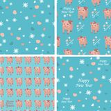 Vector set collection. Seamless patterns with pigs, snowflakes and hearts on a blue background. vector illustration