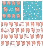 Vector set collection. Seamless patterns with pigs, snowflakes and hearts. New year 2019. vector illustration