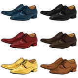 Vector Set of Color Cartoon Classical Men Shoes Stock Photos