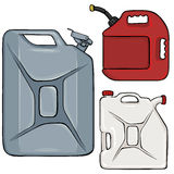 Vector Set of Color Cartoon Jerry Cans. On White Background Stock Photos