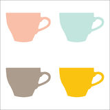 Vector set of color cups on white background. Vector illustration of colorful cups on white background royalty free illustration
