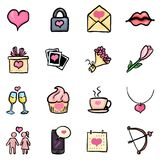 Vector Set of Color Doodle Icons - Valentine Day Signs. Vector Set of Color Doodle Icons - Valentine Day Symbols Stock Photography