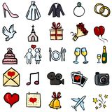 Vector Set of Color Doodle Icons - Wedding Symbols Royalty Free Stock Photos