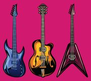 Vector set of color electric guitars for poster design.  Royalty Free Stock Photo