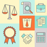 Vector set of color flat line icons for law firm Royalty Free Stock Photo