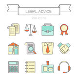 Vector set of color flat line icons for law firm Royalty Free Stock Images