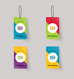 Vector set of color full price and sale tags design. แนืแำยะ stock illustration