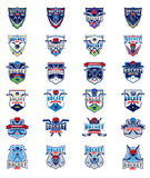 Vector set of color hockey badges, stickers, emblems Royalty Free Stock Photo