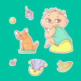 Vector set of color illustrations stickers child sitting on the pot and kitten in the cat litter. Baby bottle with water or milk,. Other care and food. The royalty free illustration