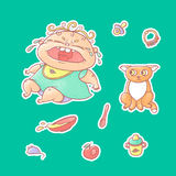 Vector set of color illustrations stickers crying child and scared kitten. Baby bottle with water or milk and a plate of porridge,. Other food. The chubby curly stock illustration