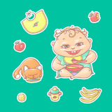 Vector set of color illustrations stickers happy child and kitten. Apples, bananas, kasha and other baby food. The chubby curly ki Royalty Free Stock Photos
