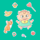 Vector set of color illustrations stickers joyful child and kitten. Baby bottle with water or milk, other food. The chubby funny c. Urly kid with big eyes and stock illustration