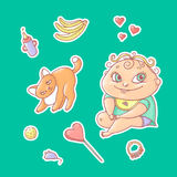 Vector set of color illustrations stickers joyful child and playful kitten. Baby bottle with water or milk, other food. The chubby. Funny curly kid with big stock illustration