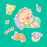 Vector set of color illustrations stickers of the sleeping child and kitten. Hygiene items, baby care and toys. The chubby curly a Royalty Free Stock Images