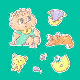 Vector set of color illustrations stickers of the surprised child and the kitten. Hygiene items, baby care and toys. The chubby cu Royalty Free Stock Image