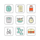 Vector set of color line icons for personal trainer program Stock Photos