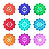 Vector set of color mandalas Royalty Free Stock Photo