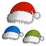 vector Set of color Santa hats Royalty Free Stock Photo