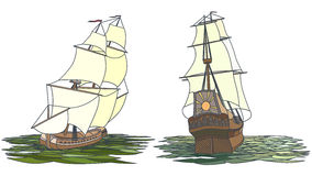 Vector set of color ship with sails for icons. Royalty Free Stock Photography