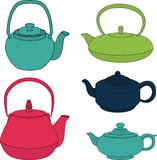 Vector set of color silhouette teapot icons. Vector collection of color silhouette teapot icons Stock Images