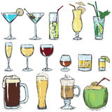 Vector Set of Color Sketch Cocktails Royalty Free Stock Photography