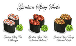 Vector set, color sketch, Gunkan Spisy Sushi Stock Photo