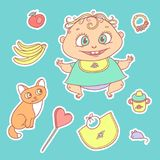 Vector set of color sketch illustrations stickers joyful child and kitten. Baby bottle with water or milk, other food Stock Photography