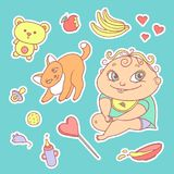 Vector set of color sketch illustrations stickers joyful child and playful kitten. Baby bottle with water or milk, other Stock Photos