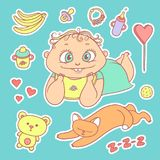 Vector set color sketch illustrations stickers joyful child and sleeping kitten. Baby bottle with water or milk, other Stock Photography