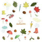 Vector set of colored autumn elements stock illustration