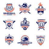 Vector set of colored baseball badges, stickers, emblems Royalty Free Stock Images