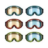 Ski snowboard goggles. Vector set of colored blue, orange ski snowboard goggles front view  on white background Stock Image
