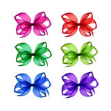 Vector Set of Colored Bright Transparent Gift Bows Royalty Free Stock Image