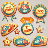 Vector set of colored brightly badges with hand Stock Photos