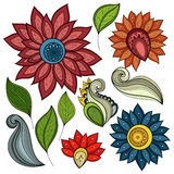 Vector Set of Colored Contour Flowers and Leaves Royalty Free Stock Images