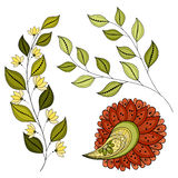 Vector Set of Colored Contour Flowers and Leaves. Floral Design Elements stock illustration