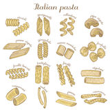 Vector set of colored different pasta shapes Royalty Free Stock Photography