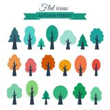 Vector set with colored flat trees. Different colored trees in flat design. Vector set isolated on white background royalty free illustration
