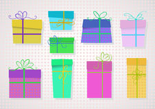 Vector set of colored gifts. Royalty Free Stock Image