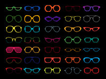 Vector set of colored glasses. Retro, geek Royalty Free Stock Images