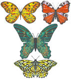 Vector set of colored hand-drawn butterflies Royalty Free Stock Photo