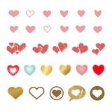 Vector set of colored hearts in different shapes and styles. Vector set of colored hearts in different shapes and styles Stock Photography