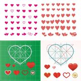 Vector set of colored hearts in different shapes and styles. Vector set of colored hearts in different shapes and styles Royalty Free Stock Photo