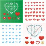 Vector set of colored hearts in different shapes and styles. Vector set of colored hearts in different shapes and styles Royalty Free Stock Photos