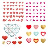 Vector set of colored hearts in different shapes and styles. Vector set of colored hearts in different shapes and styles Royalty Free Stock Photography
