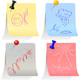 vector Set of colored labels pinned with pins Royalty Free Stock Image