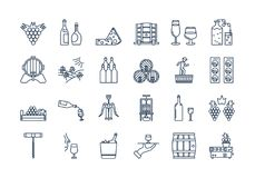 04 Outline WINE PRODUCTION icon set. Vector set of colored 24 linear outline dark blue icons. Wine production and service isolated pictographs. Viticulture Royalty Free Stock Photo
